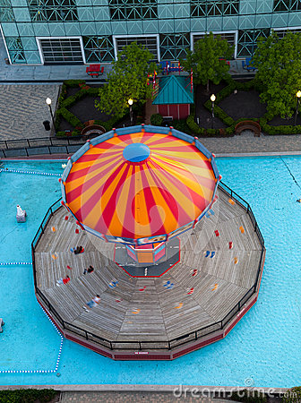 Overhead view of carousel on Navy Pier
