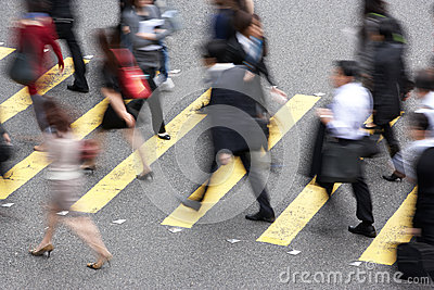 Overhead View Of Commuters Crossing Busy Street