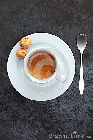 Overhead view of espresso coffee in a cup