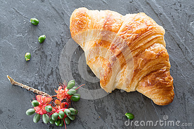 Overhead view of Fresh and tasty croissant