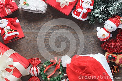 Overhead view image of accessories decoration & ornament for merry Christmas & Happy new year Stock Photo