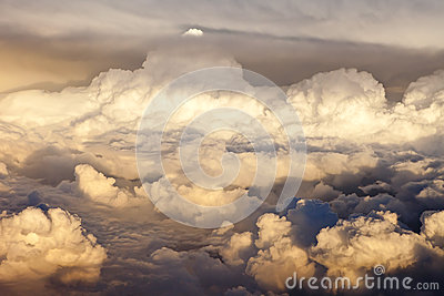 Overhead view of storm clouds