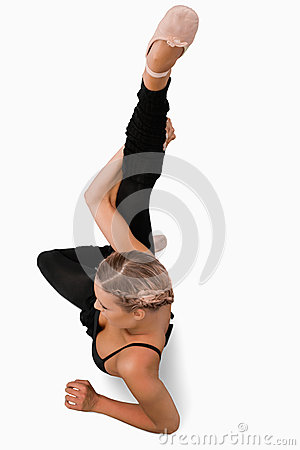 Overhead view of stretching dancer