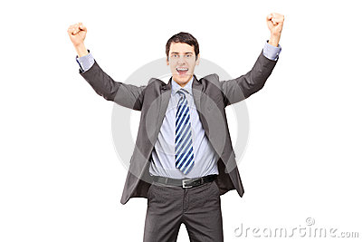 Overjoyed businessman gesturing with hands