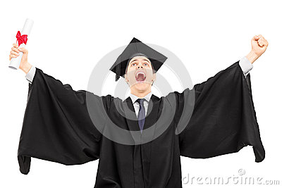 Overjoyed college graduate holding a diploma and gesturing happi