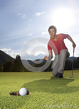 Overjoyed golfer.
