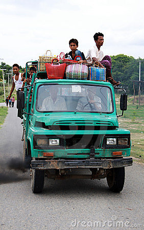 Overload and pollutant car in Myanmar Editorial Image