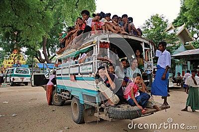 Overload truck in Myanmar Editorial Photo