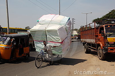 Overloaded bicycle, India Editorial Photo