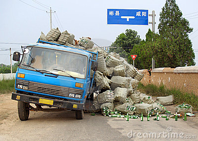 Overloaded Chinese truck accident.