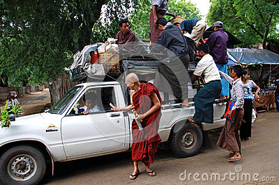 Overloaded pick-up in Bagan, Myanmar Editorial Photo