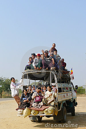 Overloaded vehicle in Myanmar Editorial Photography