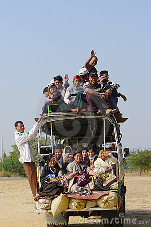 Overloaded vehicle in Myanmar Editorial Image