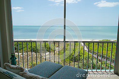 Overlooking beach from balcony