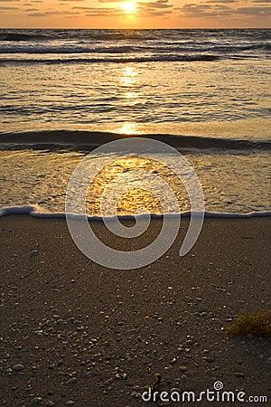 Overlooking the beach at sunrise