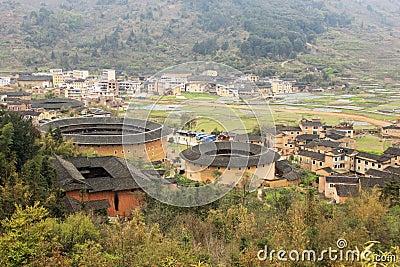Overlooking fujian tulou Earthen in china