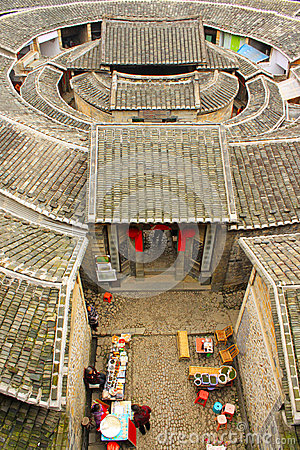 Overlooking fujian tulou Earthen in china