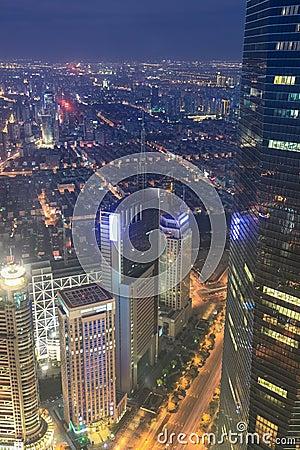Overlooking metropolis of shanghai at night
