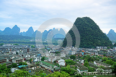 Overlooking the yangshuo county town