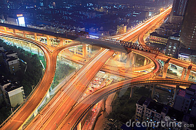 Overpass In City At Night Royalty Free Stock Image - Image: 23962766