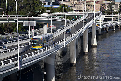 Overpasses, curves and slipways over the Brisbane Editorial Image