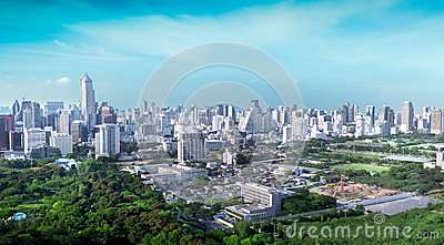 Overview of a Bangkok s business and residential areas