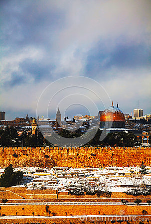 Overview of old city in jerusalem israel with the golden dome mosque