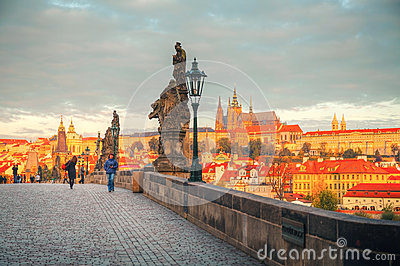 Overview of old Prague from Charles bridge Editorial Stock Photo