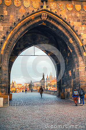 Overview of old Prague from Charles bridge side Editorial Photography