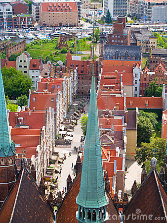 Overview of old town, Gdansk, Poland