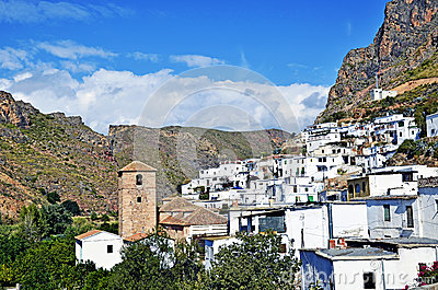Overview of small Moorish village in La Alpujarra