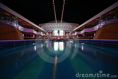 Overview of swimming pool in the deck Editorial Photography