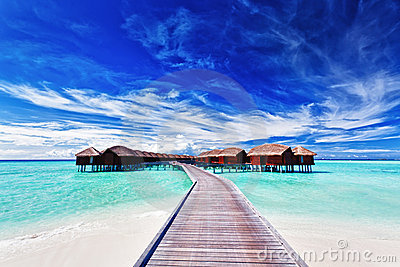 Overwater villas on the lagoon