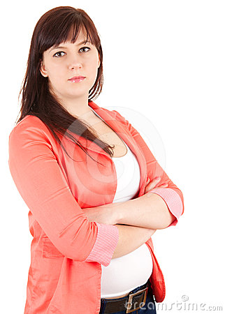 Overweight businesswoman with folded arms