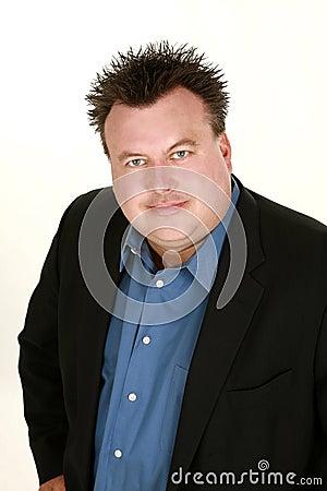 Overweight caucasian man headshot