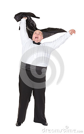 Overweight cheerful businessman, on white background