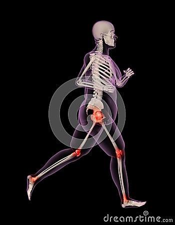 Overweight female medical skeleton running