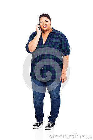 Free Overweight Girl Cellphone Stock Image - 30330751