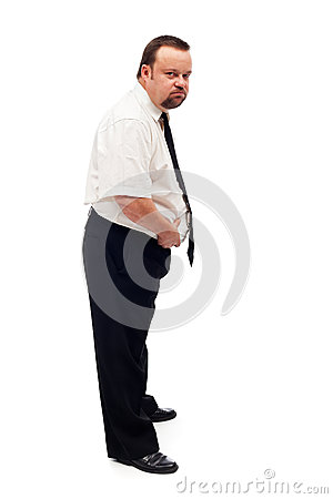 Overweight man assessing his problem