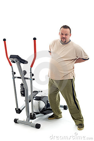 Overweight man stretching his back