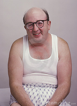 Overweight man in tank top