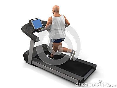 Overweight man on the treadmill