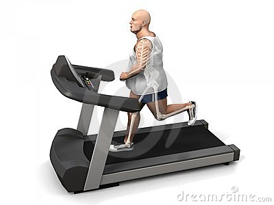 Overweight man on the treadmill
