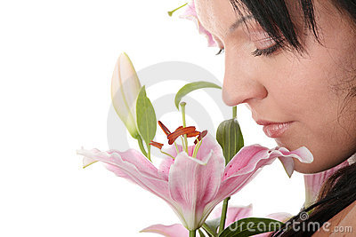 Overweight woman with lily flower