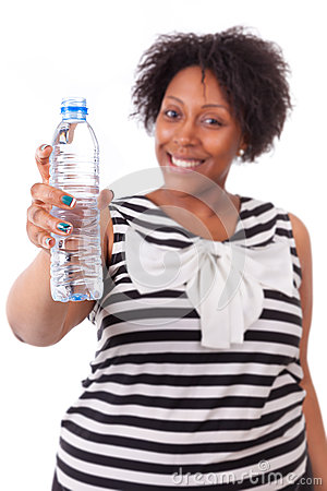 Overweight Young Black Woman Holding An Water Bottle ...