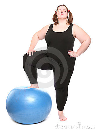Overweight young woman with blue ball.