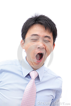 Overworked business man yawn with black eye