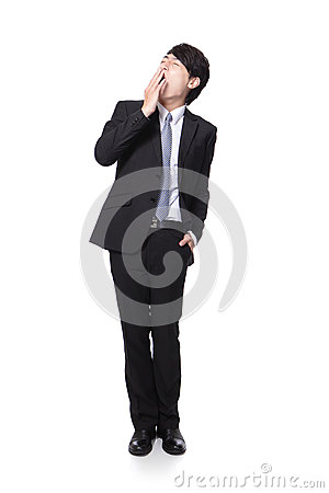 Overworked business man yawning