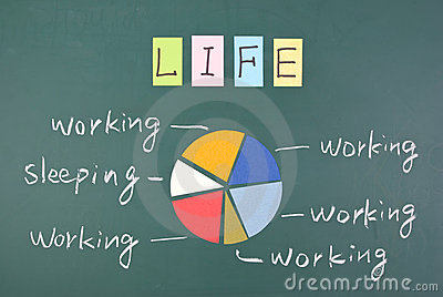 Overworked life, Colorful word and drawing