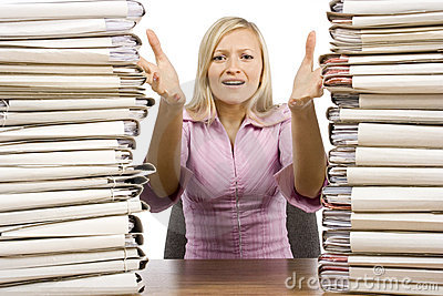 Overworked Woman At The Office Desk Stock Images - Image: 1570634